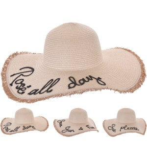"""FC4000450 LADIES BEACH HAT WITH TEXT, SIZE 47X10"""