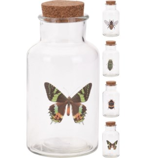 NB3301100 BOTTLE GL ASSORTED WITH CORK LID 8X8X1