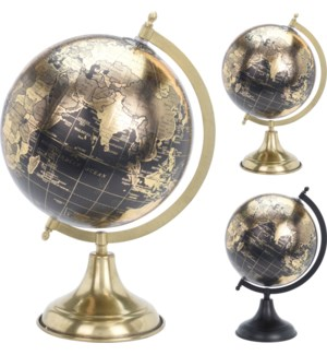 """""""A54910210 GLOBE ON METAL STAND 2ASST, BLACK WITH"""""""