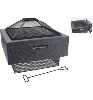 CM7000160 FIRE BOWL SQUARE MGO BODY WITH BBQ RAC