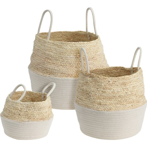 """RICE BASKET WHITE/NATURAL SET/3, LC"""
