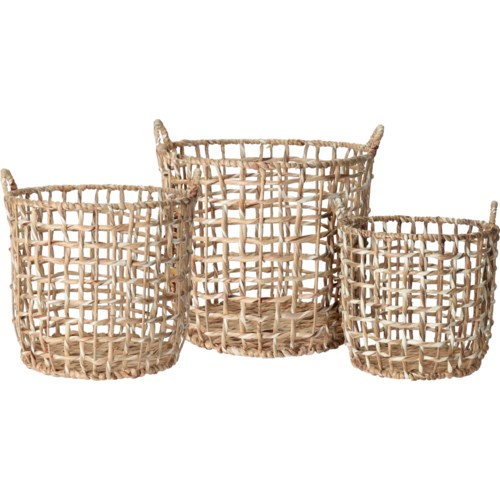 """LARGE WEAVE BASKET SET/3, LC"""