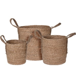 """KR2002080 BASKET SET/3,  CATTAIL LEAF. LARGE, 33"""