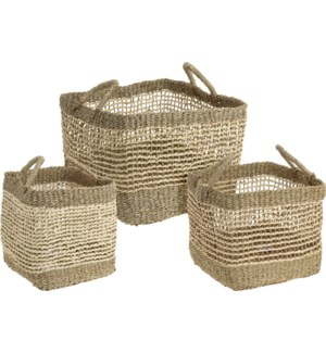 """VT9000160 SQUARE BASKET SET/3, SEAGRASS, LC"""