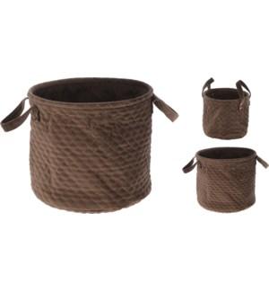 """Storage Basket With Quilting, Velvet, Set Of 2, Brown"""