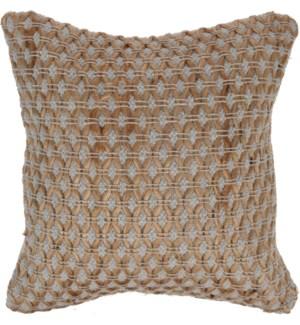 """Cushion, Size 45X45cm. Jute And Cotton, Diamond Design"""