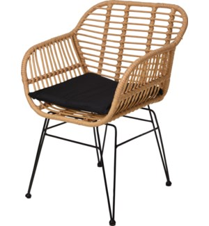 X67000020 CHAIR WITH RATTAN FINISH. SIZE: 57X62X