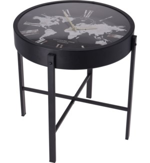 AAE321350 SIDE TABLE WITH CLOCK AND WORLD MAP DE