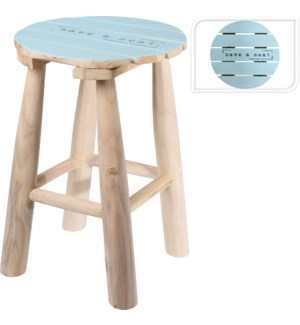 """J11151020 STOOL TEAK WOOD 'HAVE A SEAT', DIA 30X"""