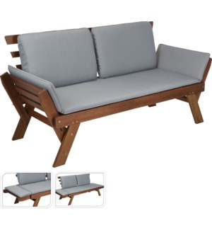 VT2200400 DAY BED ACACIA WOOD W/GREY CUSHIONS AD