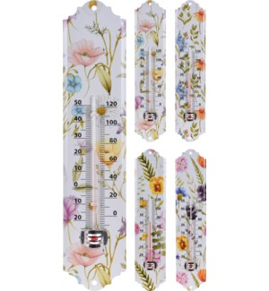 """""""Thermometer Metal, 4 Ass. Flower Design."""""""