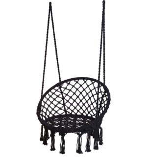 """X28000210 BLACK MACRAME HANGING CHAIR ROUND, BLA"""
