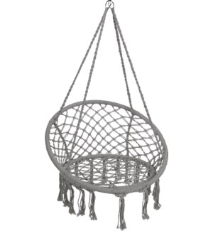 """X28000260 GREY MACRAME HANGING CHAIR ROUND, BLAC"""