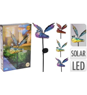512000660 SOLAR GLASS DRAGON FLY ON METAL STICK