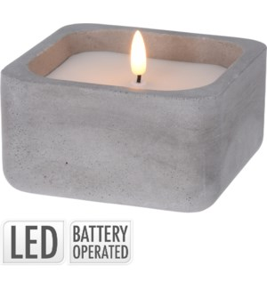 Led Candle In Concrete Pot. White Wax. Warm Led Top.