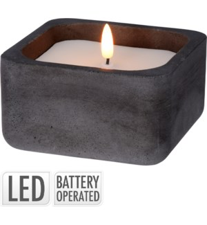 Led Candle In Black Pot. White Wax. Warm Led Top