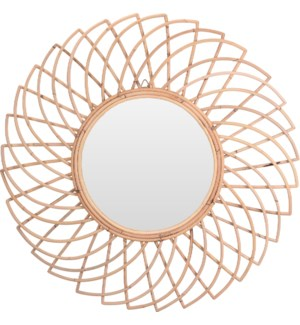 """Mirror Kubu Natural,Dia 90X3cm. 'Gasing' Mirror Design."""