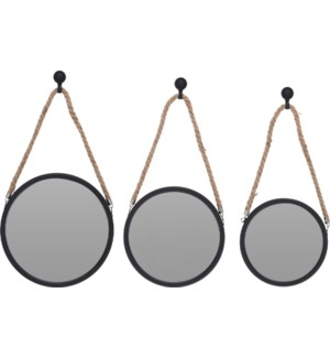 """""""Mirror Round Pp, Set Of 3Pcs, Each With Natural Rope"""""""