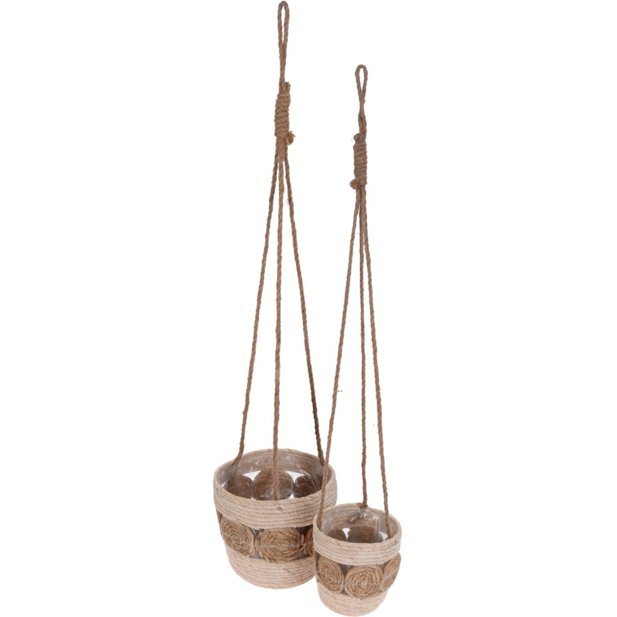 WHITE/NAT BOHO HANGING FLOWER BASKET SET/2