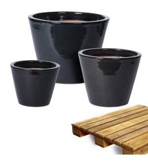 """""""Planter Reactive Glazed, Black, Set Of 3, On Pallet"""""""