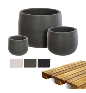 """""""Planter Perfectly Smooth, Set Of 3, 3 Ass., On Pallet"""""""