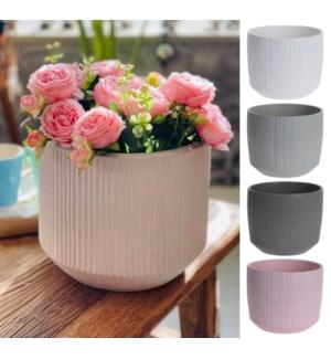 """""""Flower Pot Lines Pattern, 15 cm, Stoneware, 4 Ass."""""""