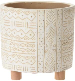 """""""Flower Pot On 3 Wooden Legs, Cement, White"""""""