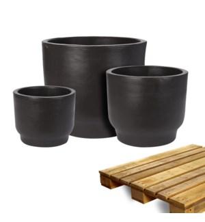 """""""Planter Black Color, Set Of 3, On Pallet"""""""