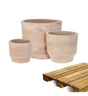 """""""Planter Natural Brown Terra Color, Set Of 3, On Pallet"""""""