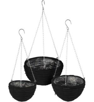 """Flowerpot With Hanger, Rattan, Set Of 3, Black Colour"""