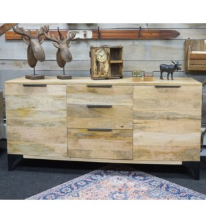 Jax Sideboard Cabinet, Natural, 100% hardwood (Mango), India, 66.9x17.7x30.7inch