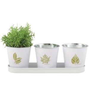 Leafprint set 3 pots tray OS