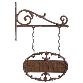Wall bracket welcome sign. Cast iron. 22,7x3,8x33,5cm. oq/6,mc/12 Pg.45
