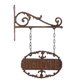 Wall bracket welcome sign. Cast iron. 22,7x3,8x33,5cm. oq/6,mc/12 Pg.45