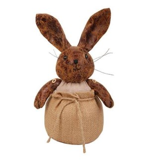 Rabbit in bag doorstopper. Polyester fake leather and sand. 12,3x11,5x17,8cm. On sale 35 percent o