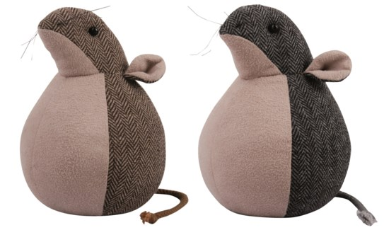 Doorstop mouse ass. Polyester, cotton. 13,2x13,2x17,4cm. oq/8,mc/8 Pg.49