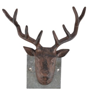 Wall decoration deer on slate. Cast iron, slate. 22,3x11,1x23,1cm. On sale 35 percent off original