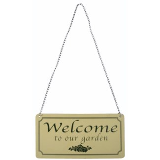 Sign Welcome to our garden. Aluminum, metal. 18,1x0,1x9,2cm. oq/12,mc/240 Pg.145