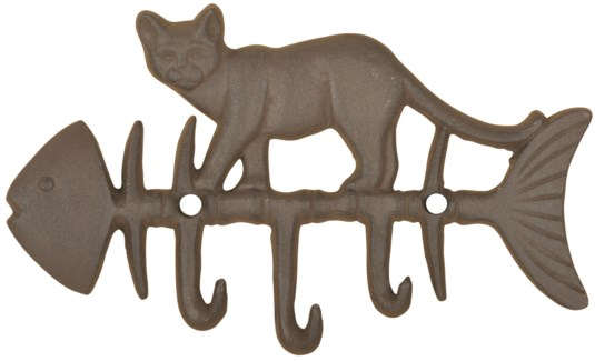 Cat on fish hook -  (8.6x0.7x5.2 inches)