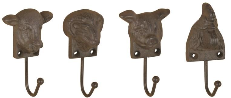 Farm animal head hook 4 ass. - (2.2x1.7x5.3 / 2.4x1.7x4.8 / 2.8x1.5x4.5 / 3.0x1.7x4.7 inches)