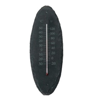 """Slate thermometer oval S. Slate, glass, kerosine. 10,0x0,4x30,0cm. oq/6,mc/36 Pg.96"""