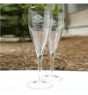 """Old engraved champagne glasses, set/6,"""