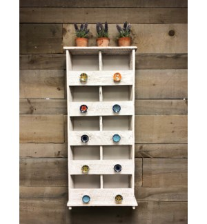 10 Cubby Shelf Displayer,Rustic White, 17x6x37.5 inch *50% off w/order of $750 in pulls*