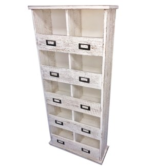 10 Cubby Shelf, Antique White, 17x6x37.5 inch