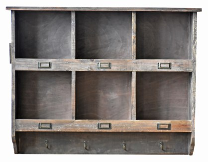 Rustic Wood Cubby & Hook Board 34x7x27 inches *Made from very old recycled wood for best rustic effe