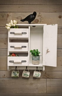 Rustic Wood Wall organizer w/hooks, White, 19x7x23 inches *Made from very old recycled wood for best