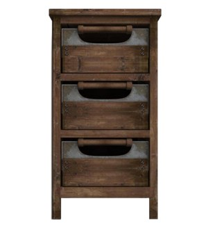 Rustic Wood Drawer Cabinet