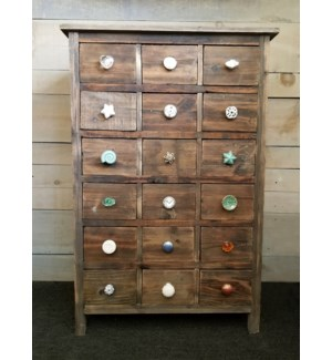 18 Drawer Pull Knob Display Cabinet, Fir Wood, 26x12x39  50% off w/ ordr of $750 in pulls.