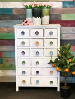 18 Drawer Pull Knob Display Cabinet, White, 26x12x39