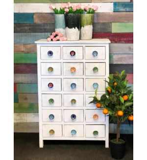 18 Drawer Pull Knob Display Cabinet, White, Rec. Fir Wood, 26x12x39 *50% off with $500 order of Hard